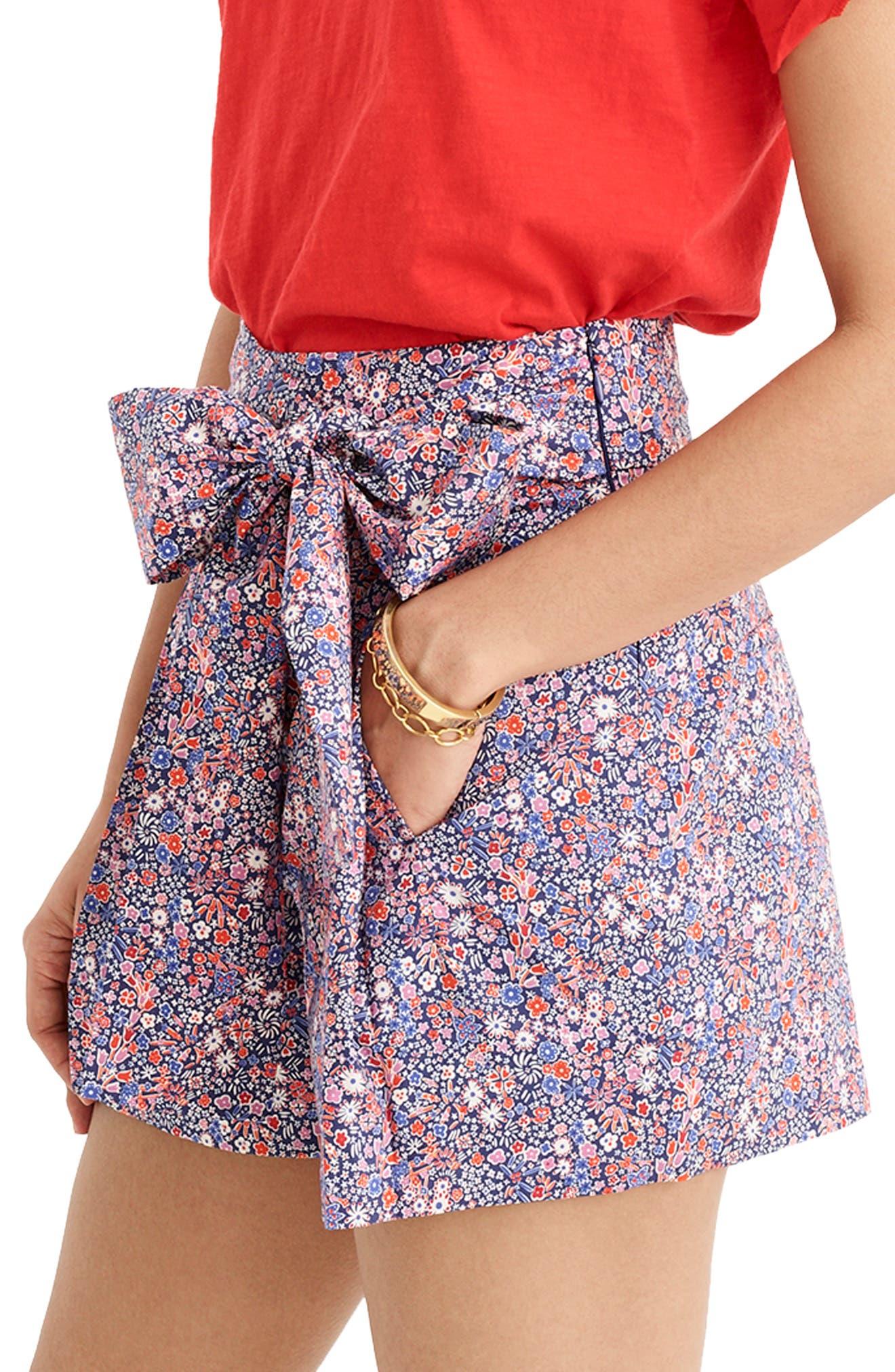 ,                             Liberty<sup>®</sup> Tana Lawn Tie Waist Shorts,                             Alternate thumbnail 3, color,                             DEEP BLUE MULTI