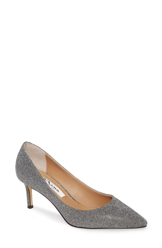 Nina 60 Mid Heel Pumps Women's Shoes In Charcoal Glitter Fabric