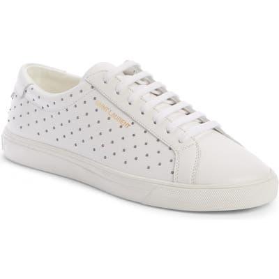 Saint Laurent Andy Studded Sneaker, White
