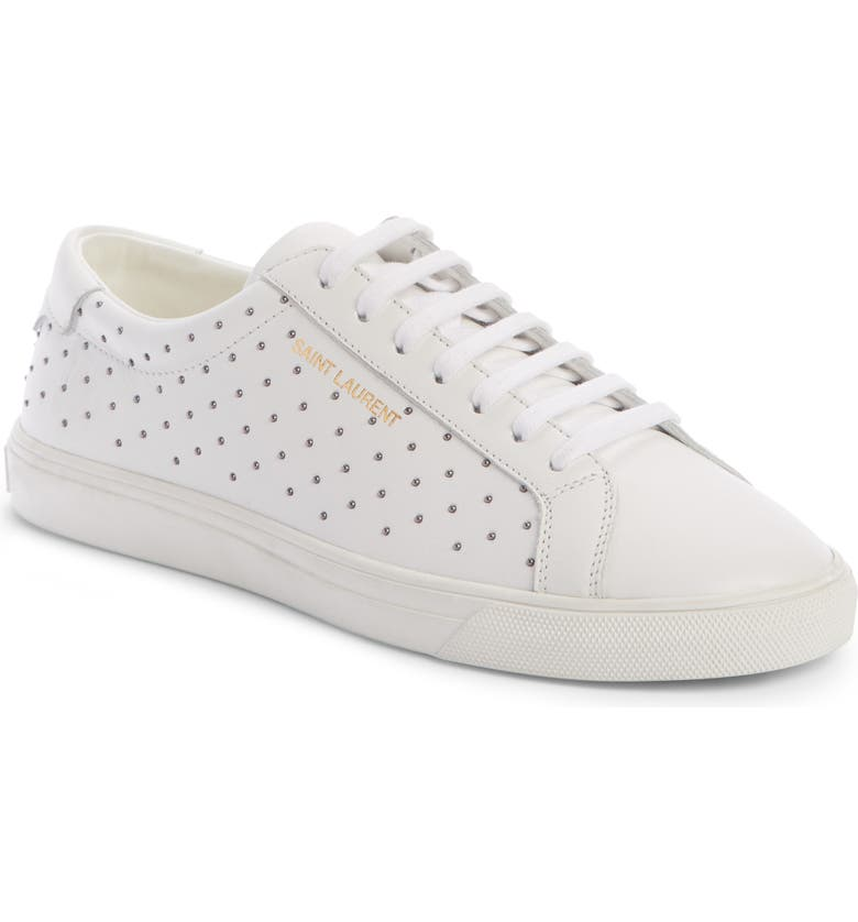 SAINT LAURENT Andy Studded Sneaker, Main, color, WHITE