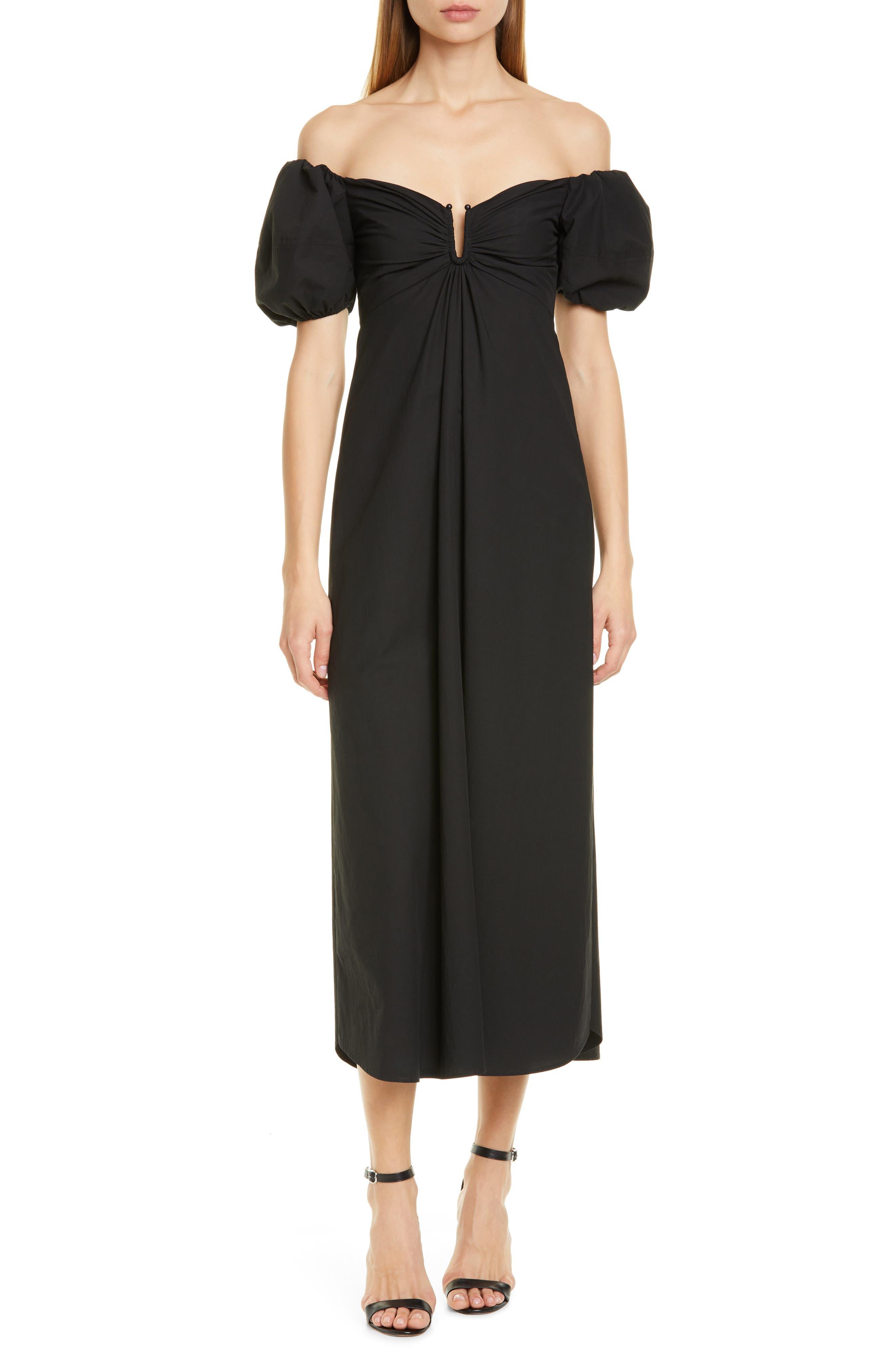 A.l.c. Marilyn Off The Shoulder Midi Dress, Black