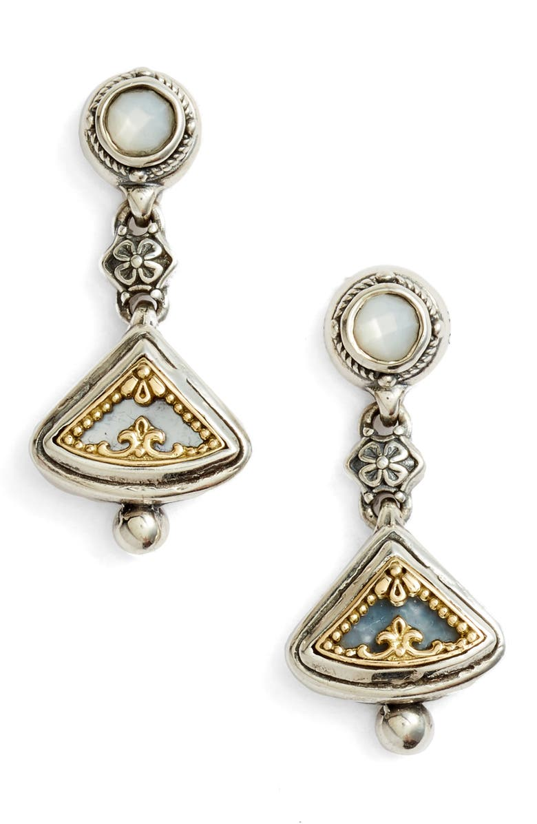 KONSTANTINO Etched Sterling Silver & Gold Drop Earrings, Main, color, SILVER/ GOLD/ WHITE