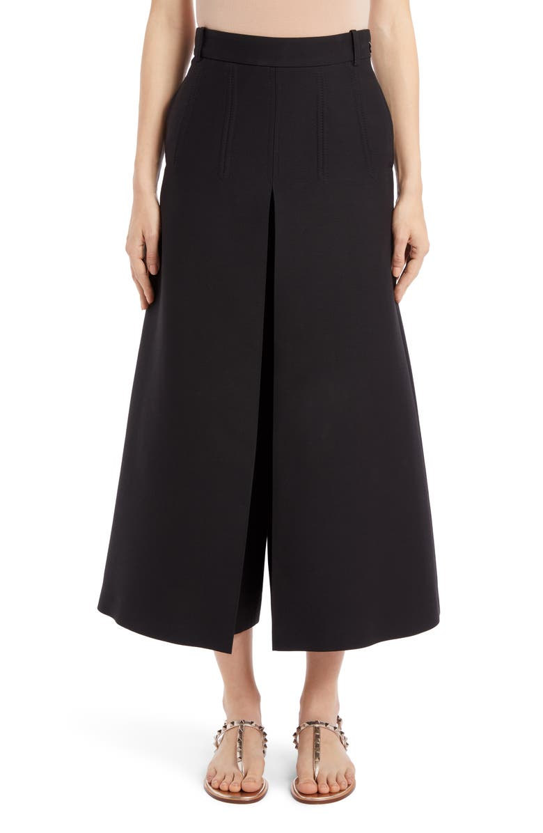 VALENTINO Pleated Wide Leg Wool & Silk Crepe Couture Pants, Main, color, 001