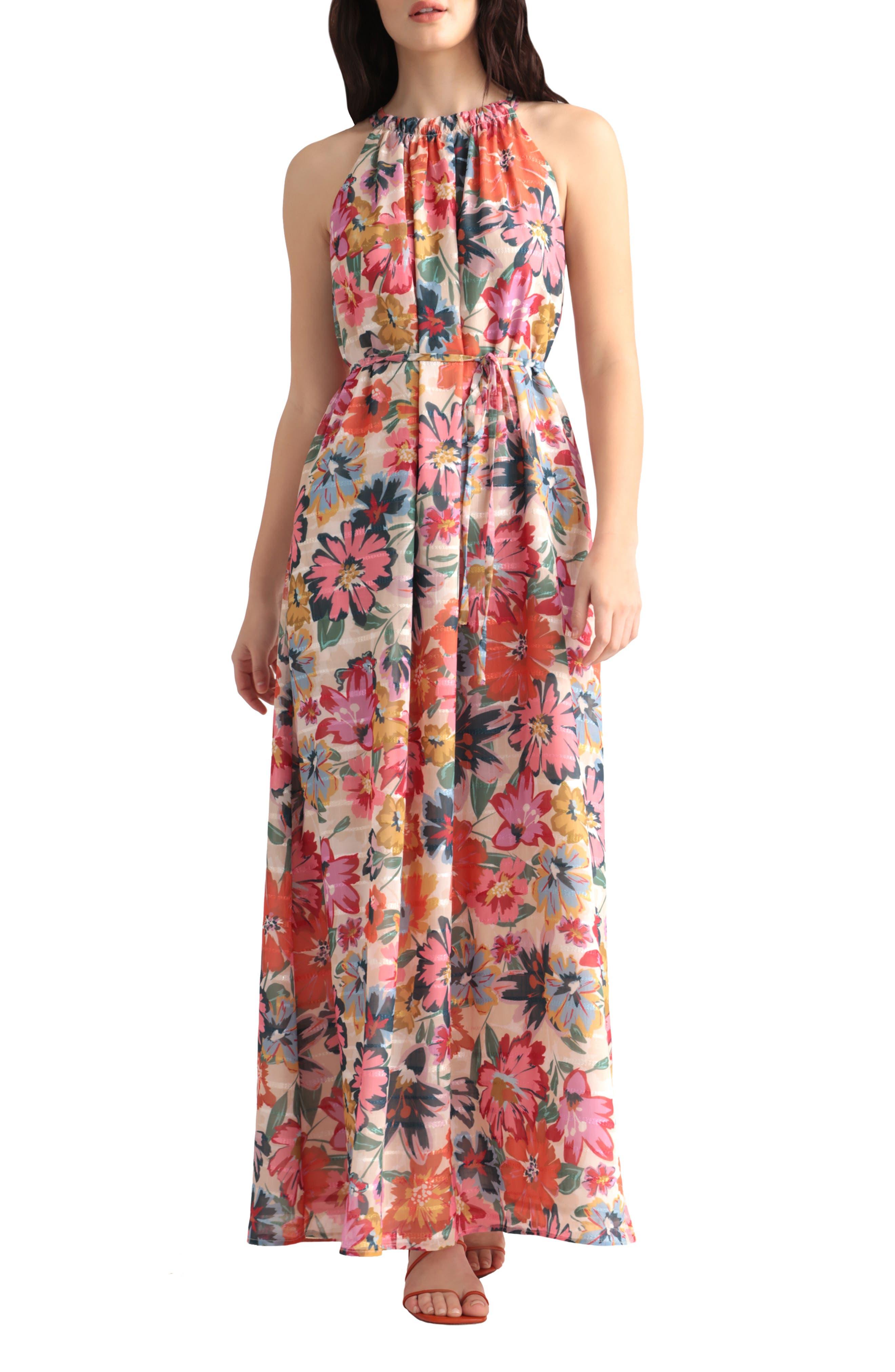 Floral Halter Neck Dress