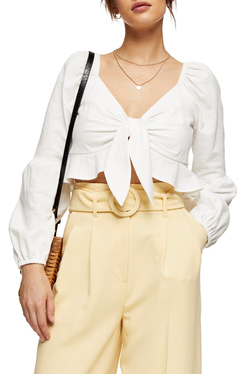 TOPSHOP Knot Front Frill Crop Blouse, Main, color, IVORY