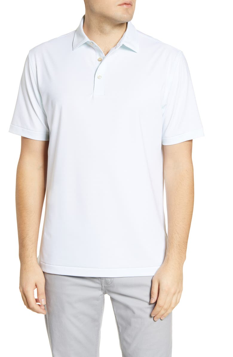 PETER MILLAR Halford Stripe Performance Polo, Main, color, WHITE/ YUCCA