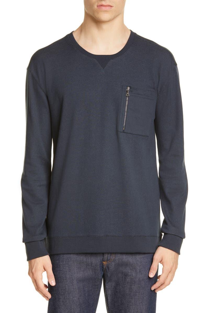 JOHN VARVATOS Zip Pocket Crewneck Sweatshirt, Main, color, DARK NAVY