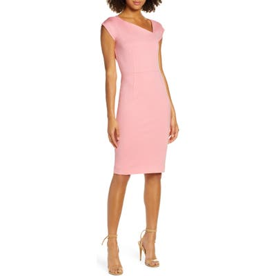 French Connection Lula Asymmetrical Neck Sheath Dress, Pink