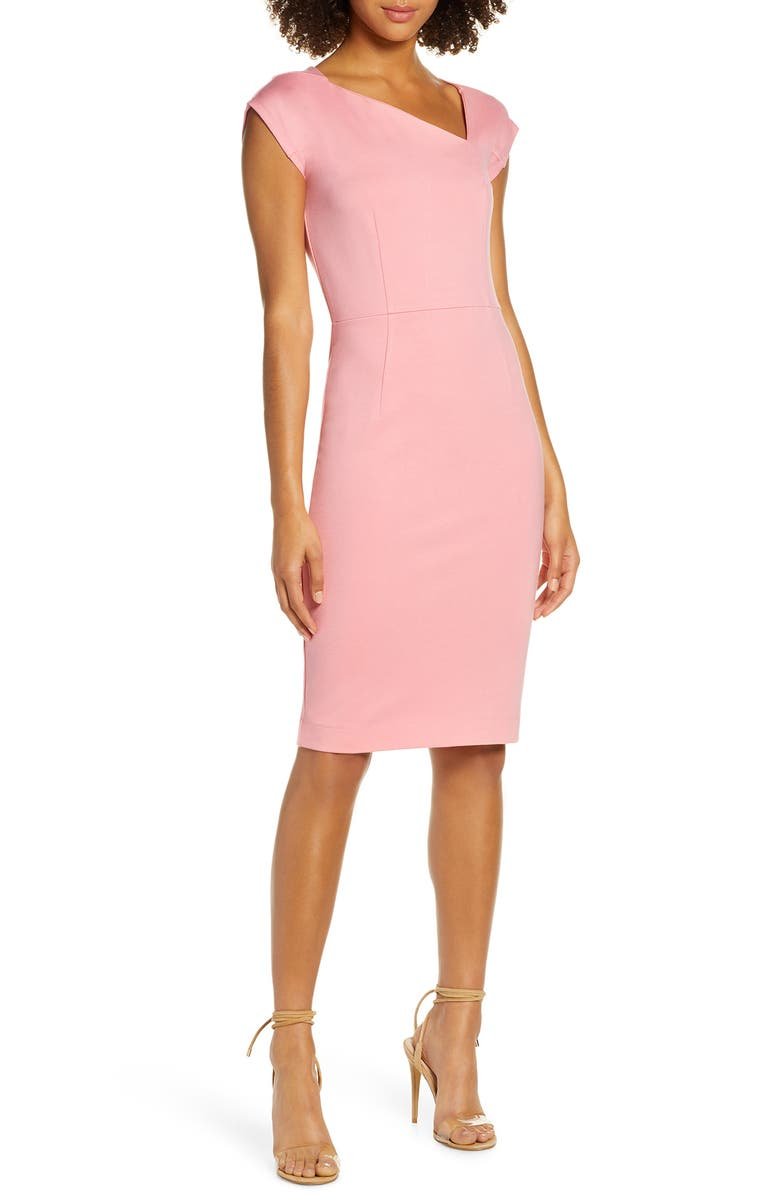 FRENCH CONNECTION Lula Asymmetrical Neck Sheath Dress, Main, color, FIZZY PINK