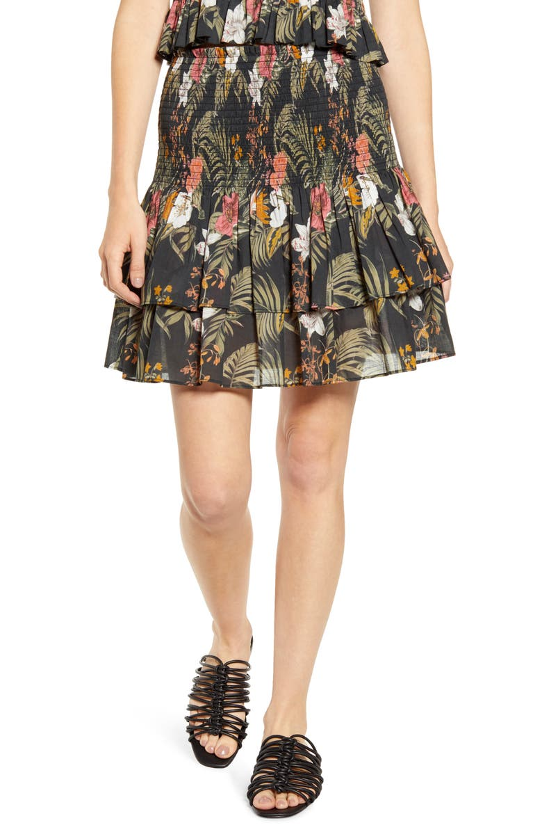 REBECCA MINKOFF Tropical Print Smocked Tiered Cotton Skirt, Main, color, 002