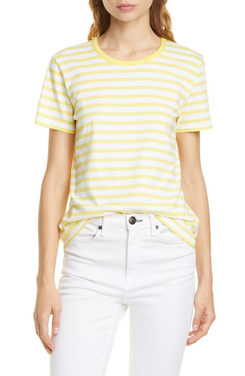 LA LIGNE Regular Stripe Cotton Tee, Main, color, WHITE/ YELLOW STRIPE
