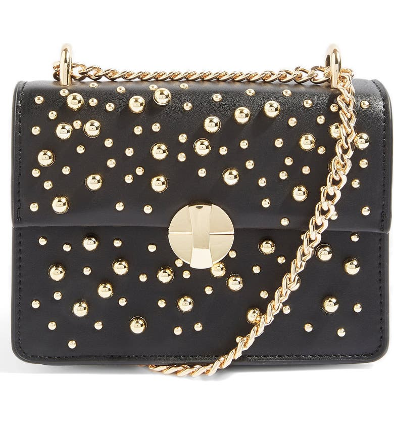 TOPSHOP Betty Ball Stud Faux Leather Crossbody Bag, Main, color, 001