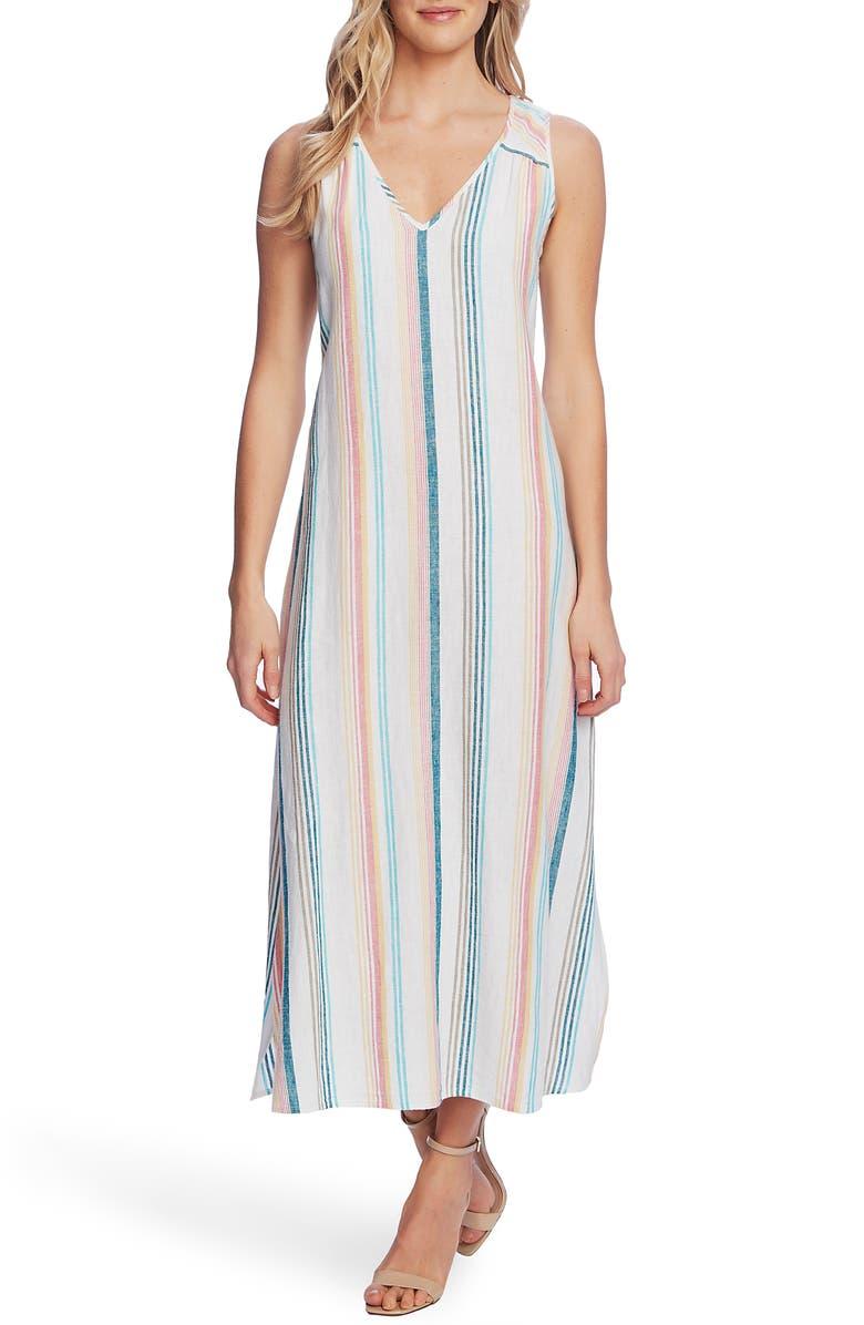 VINCE CAMUTO Beach Haze Stripe Sleeveless Linen Blend Dress, Main, color, OCEAN WAVE