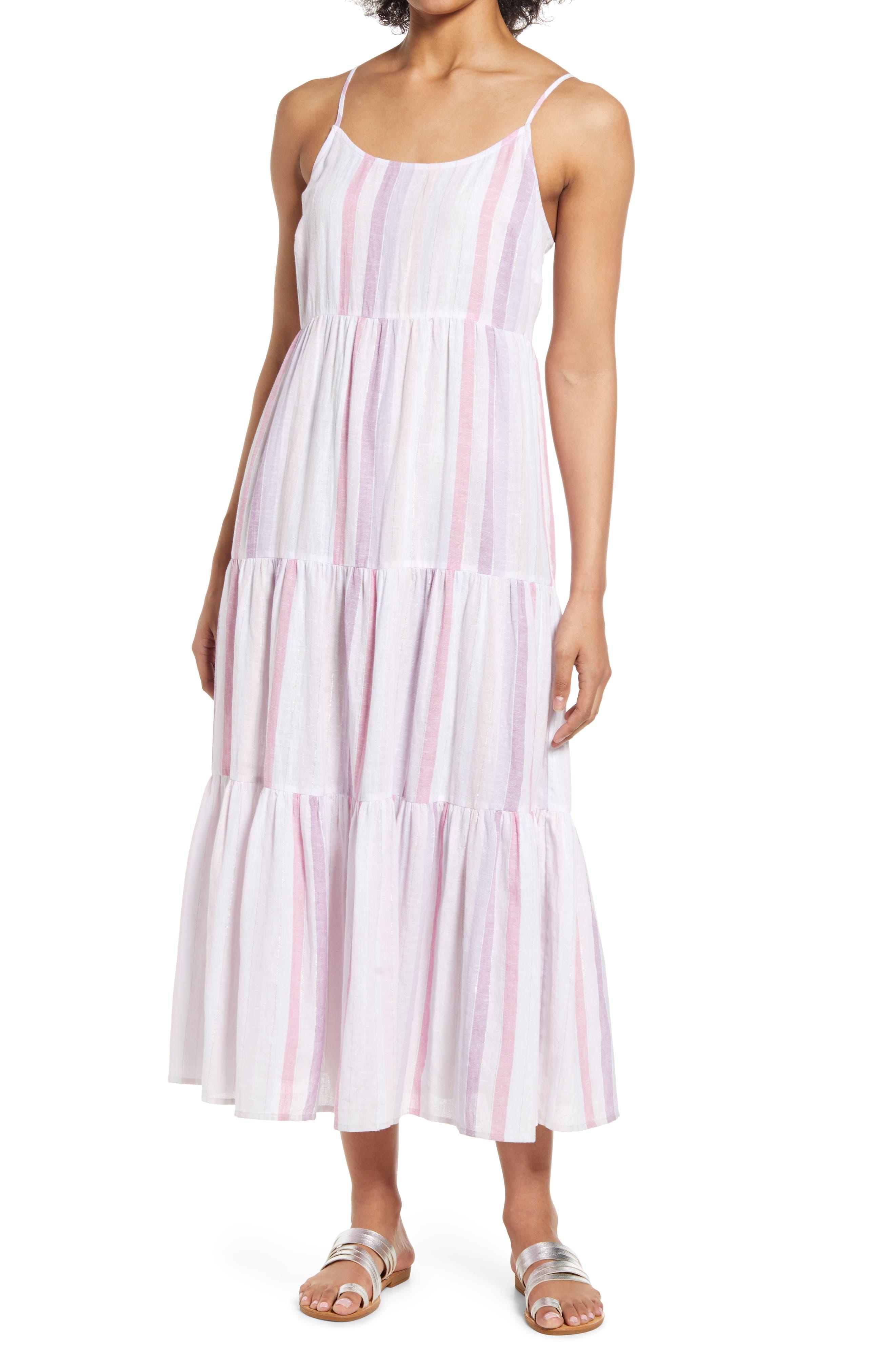Lana Stripe Linen & Cotton Tiered Midi Sundress