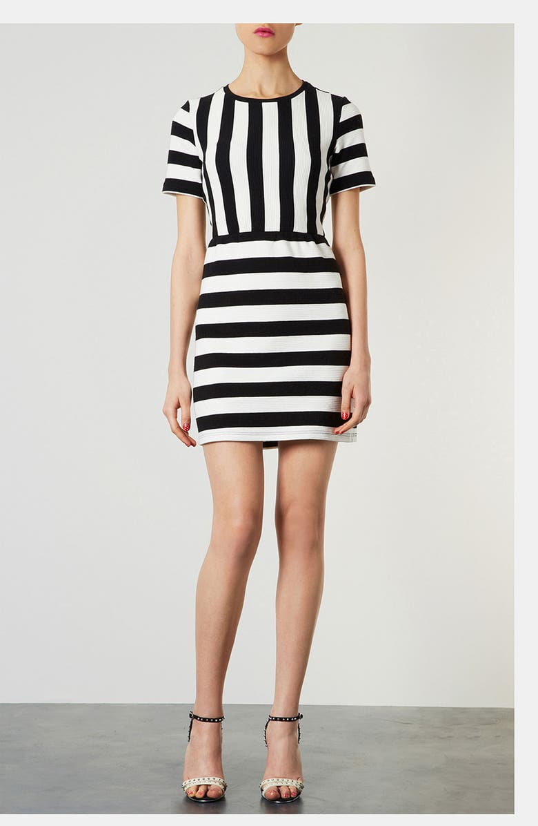 TOPSHOP Textured Stripe Dress, Main, color, 002