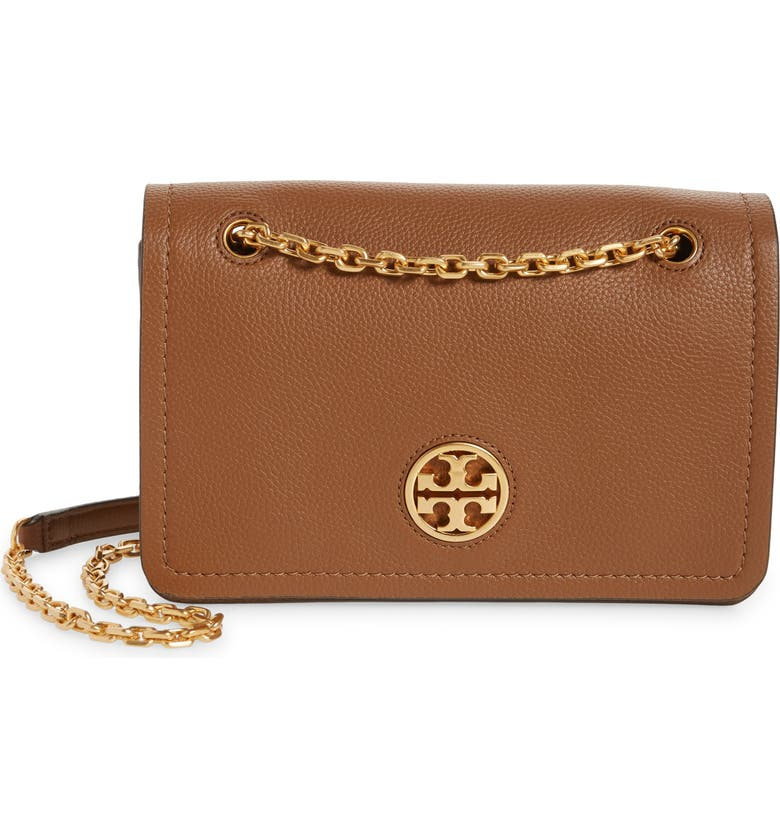 TORY BURCH Carson Convertible Leather Crossbody Bag, Main, color, MOOSE