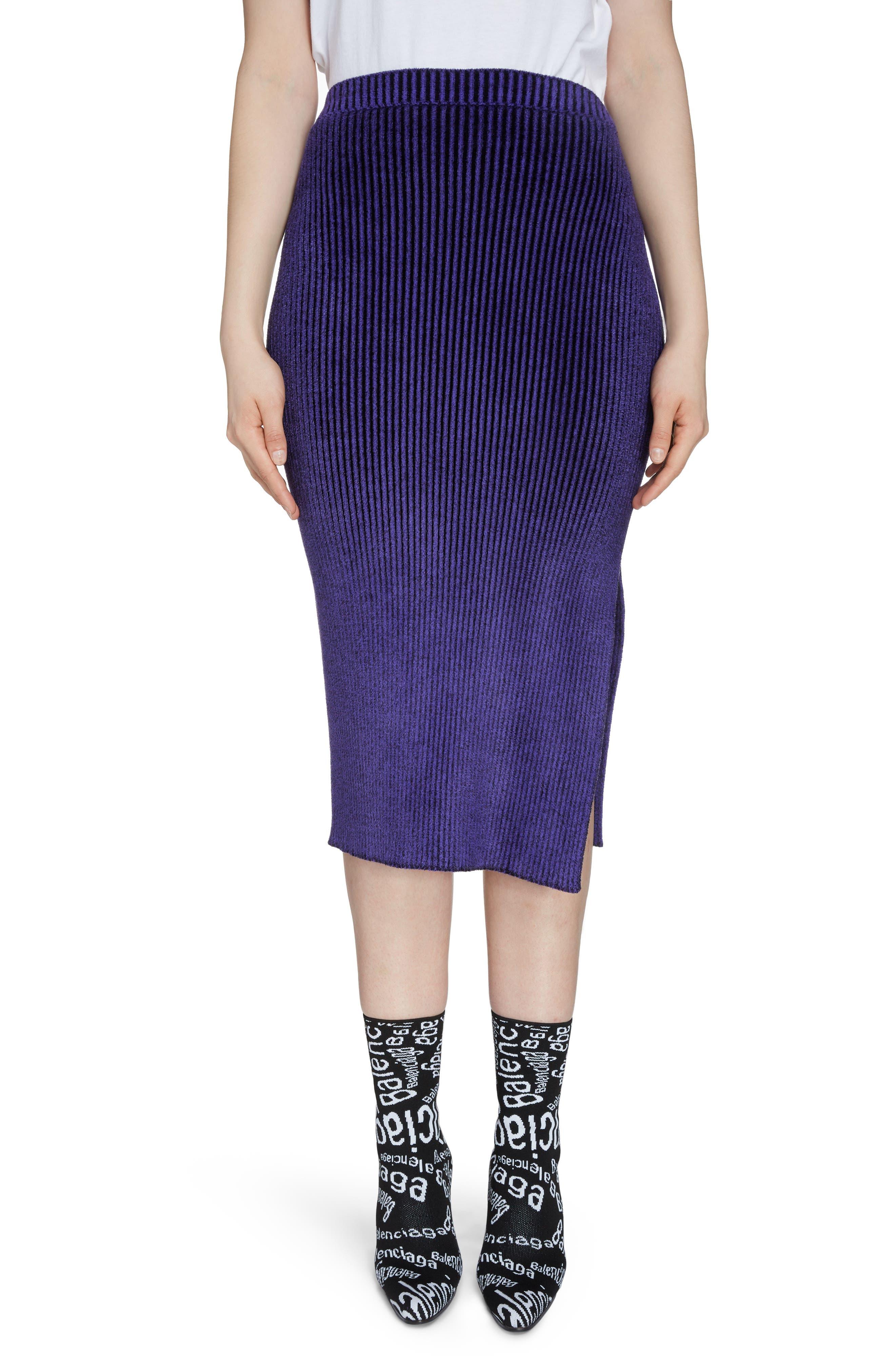 Balenciaga Skirts Rib Chenille Midi Pencil Skirt