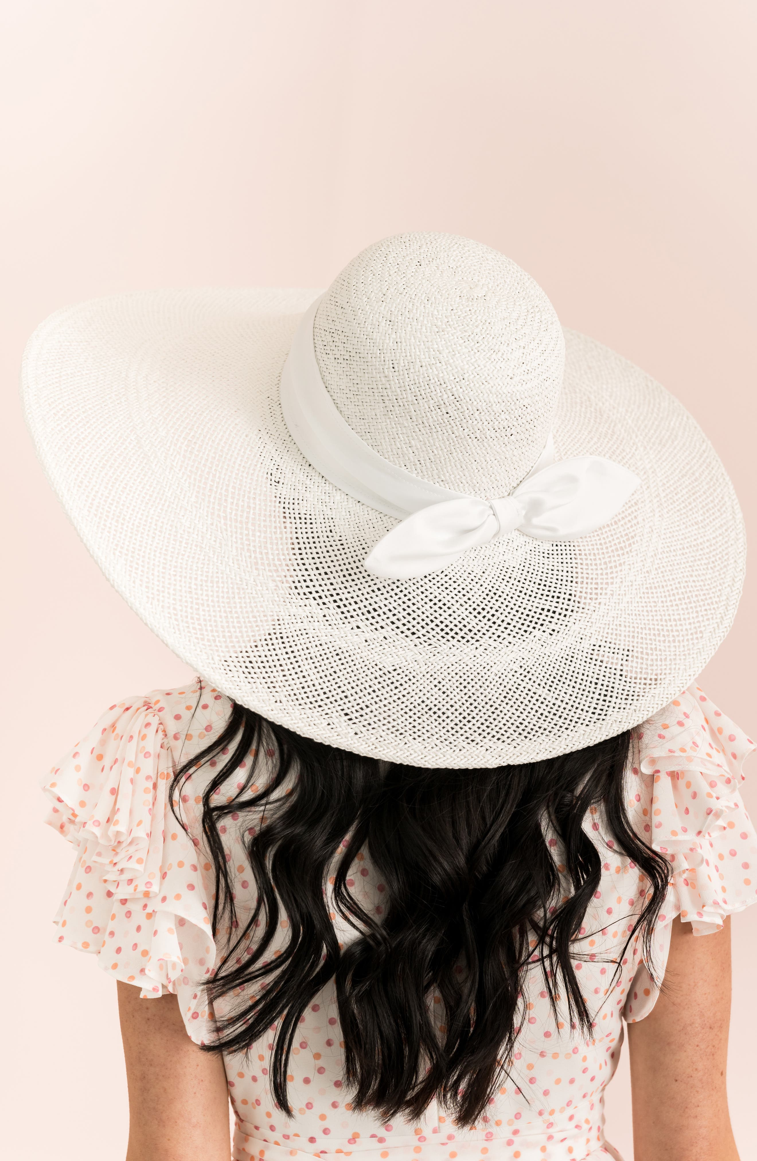 ,                             Large Brim Straw Hat,                             Alternate thumbnail 2, color,                             WHITE COMBO