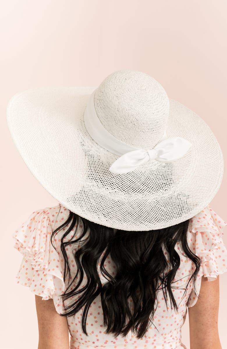 Large Brim Straw Hat, Alternate, color, WHITE COMBO