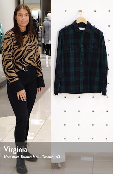 Plaid Button-Up Flannel Shirt Jacket, sales video thumbnail