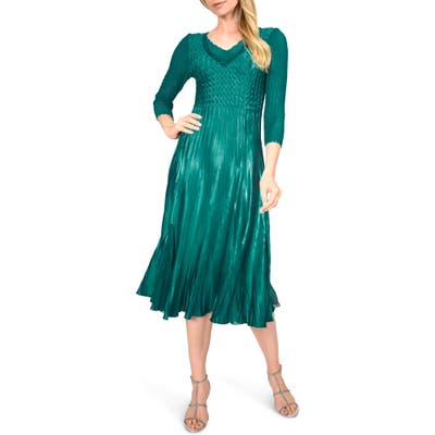 Petite Komarov Beaded V-Neck Cocktail Dress, Green