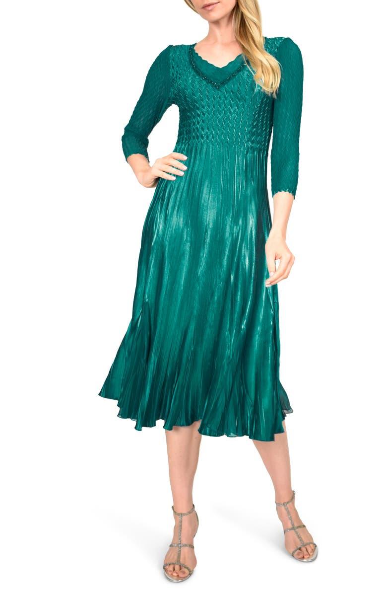 KOMAROV Beaded V-Neck Cocktail Dress, Main, color, 305
