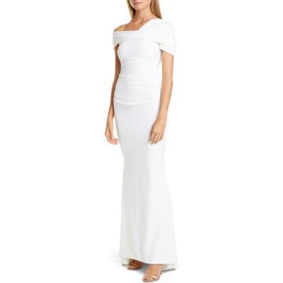 Talbot Runhof Asymmetrical Stretch Crepe Mermaid Gown, White