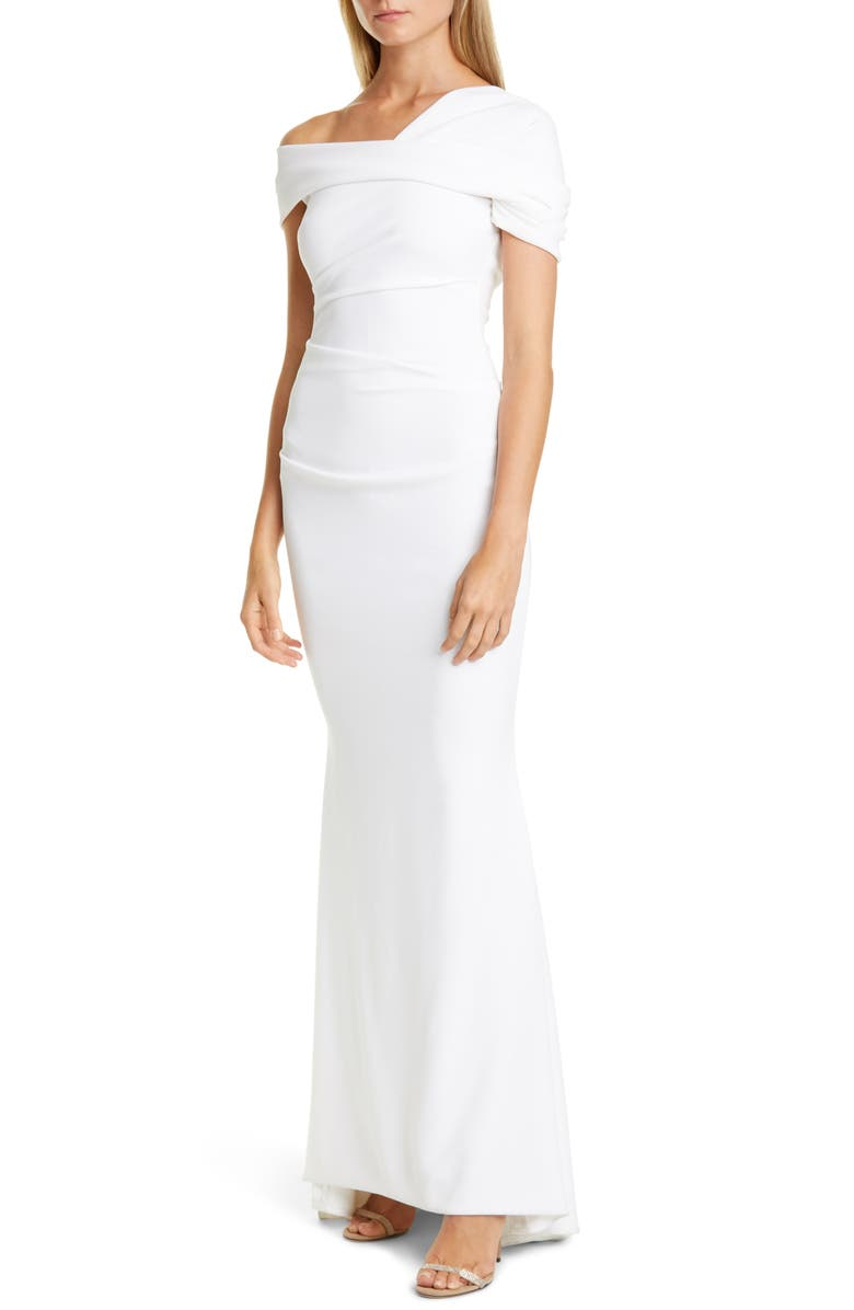 TALBOT RUNHOF Asymmetrical Stretch Crepe Mermaid Gown, Main, color, 100