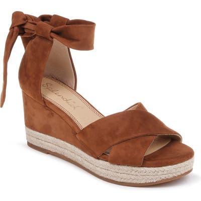 Splendid Terrence Ankle Wrap Wedge Sandal, Brown