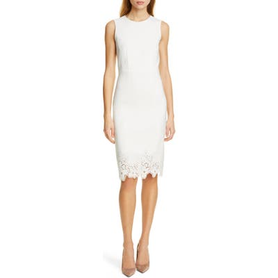 Tailored By Rebecca Taylor Eyelet Detail Linen Blend Sheath Dress, Ivory