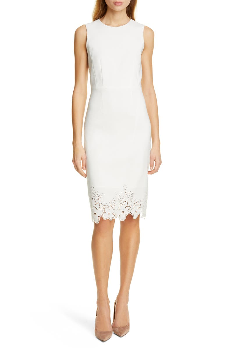 TAILORED BY REBECCA TAYLOR Eyelet Detail Linen Blend Sheath Dress, Main, color, SNOW