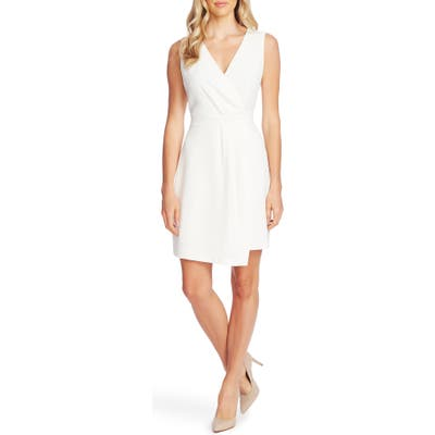 Vince Camuto Parisian Crepe Pleat Front Sleeveless Cocktail Dress, Ivory