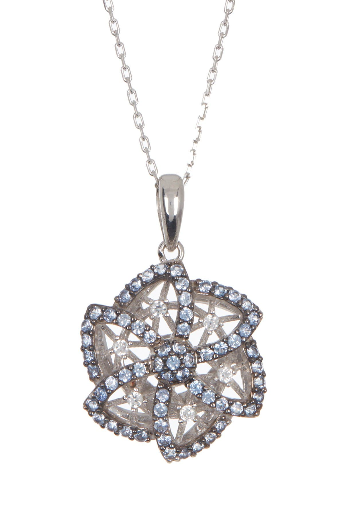 Image of Suzy Levian Sterling Silver Sapphire Caged Flower Pendant Diamond Accent Necklace - 0.02 ctw