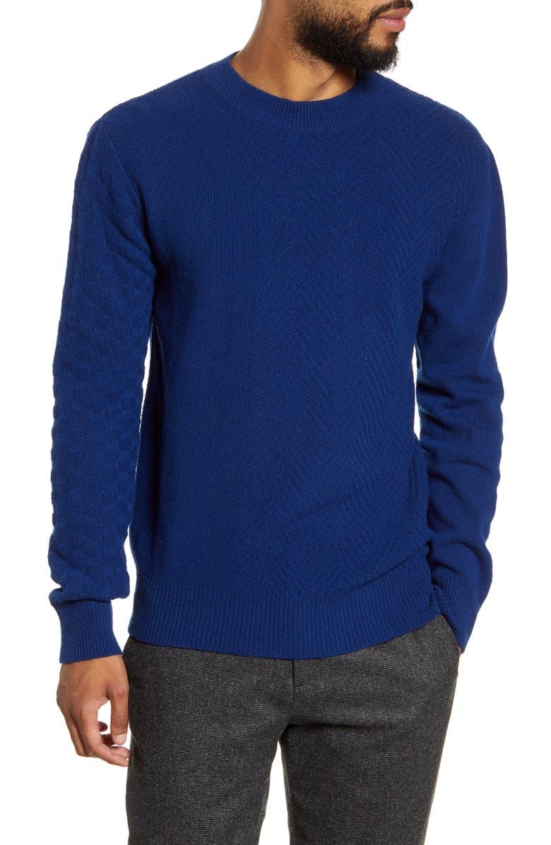OLIVER SPENCER Blenheim Slim Fit Crewneck Wool Sweater, Main, color, BERNINA BLUE