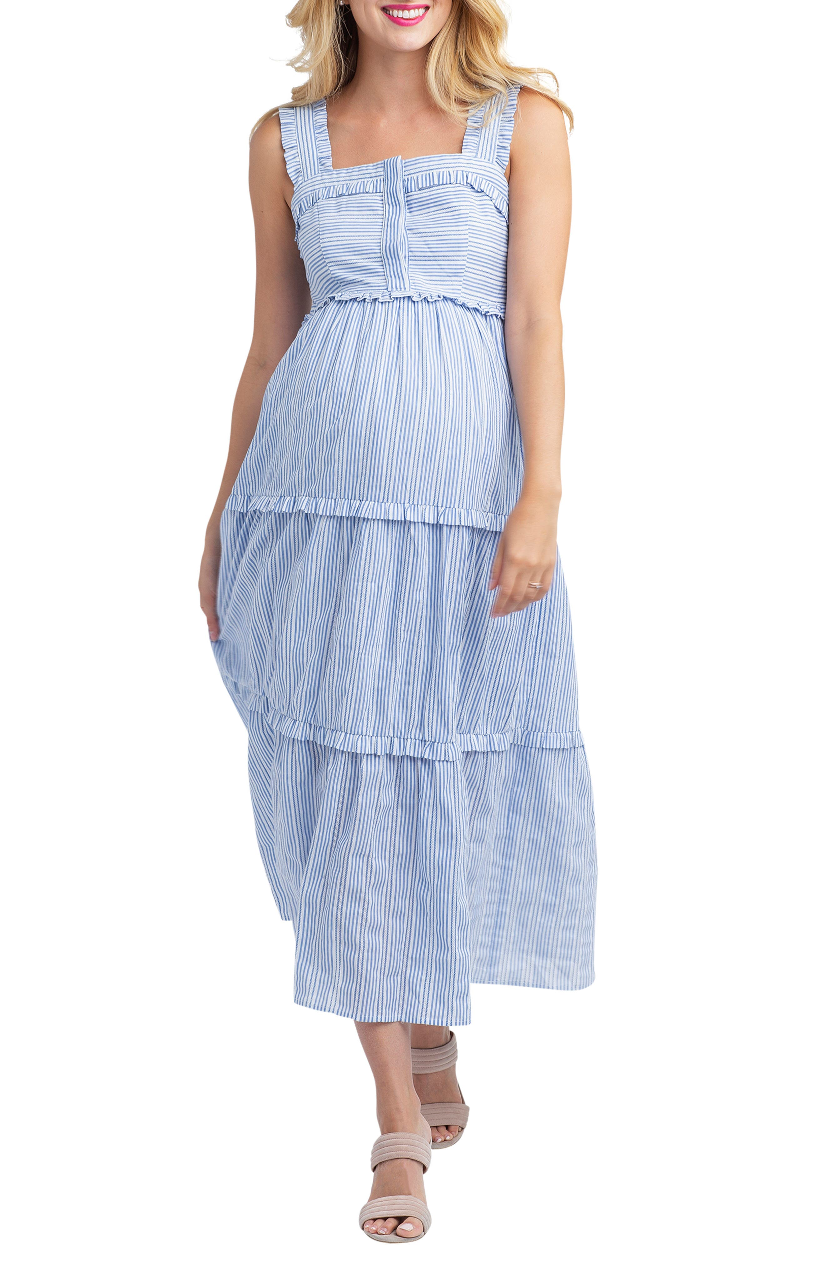 Vintage Maternity Clothes History Womens Nom Maternity Emma Maternitynursing Midi Dress $116.00 AT vintagedancer.com