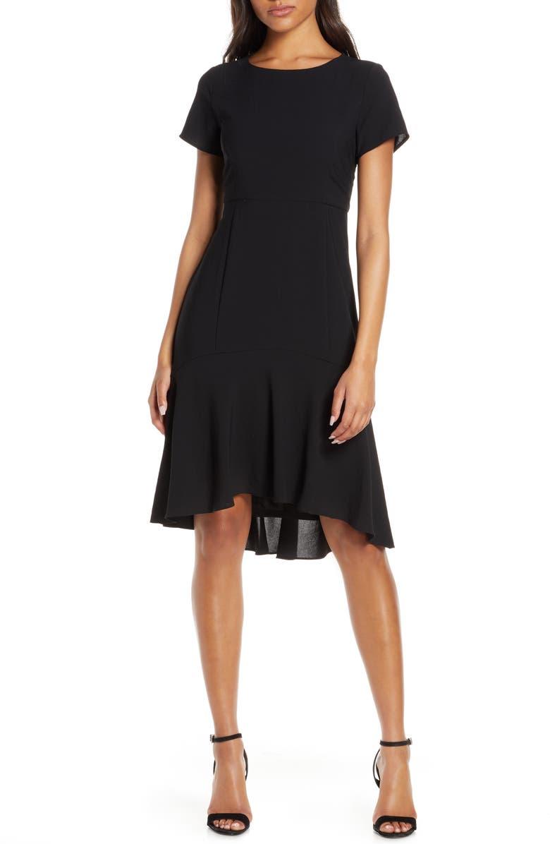 AVEC LES FILLES High/Low Sheath Dress, Main, color, 001