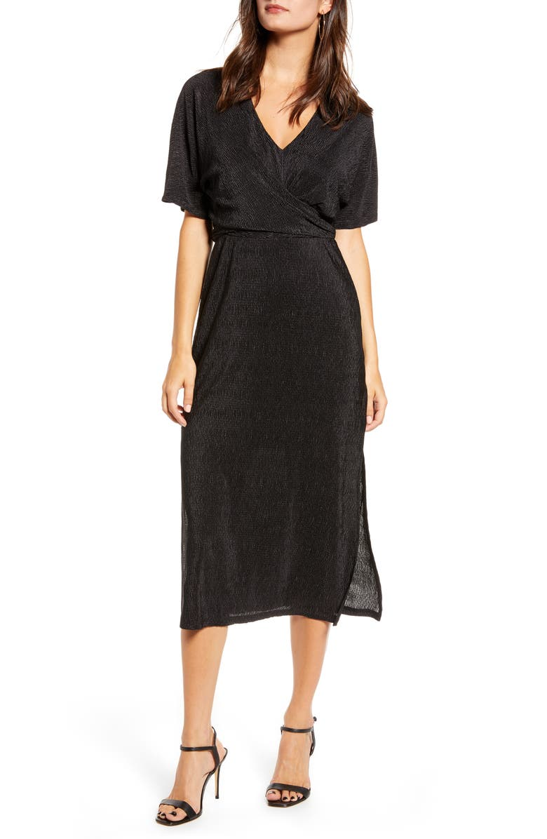 ALL IN FAVOR Surplice Midi Dress, Main, color, BLACK
