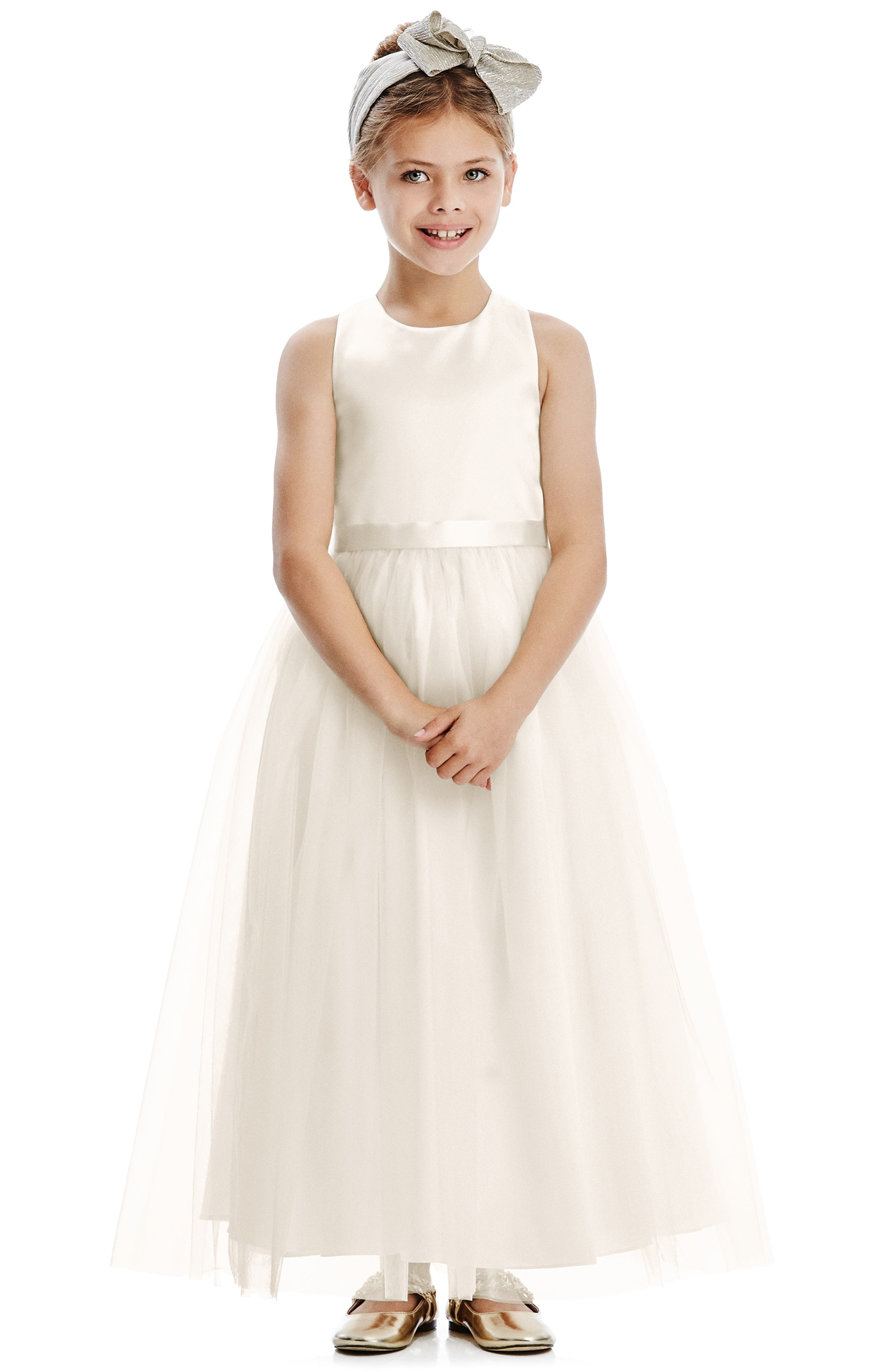 A gauzy tulle skirt provides a graceful finish for a sweet flower girl dress that\\\'s sure to make the occasion extra special. Style Name: Dessy Collection Tulle Skirt Flower Girl Dress (Toddler, Little Girl & Big Girl). Style Number: 6071892. Available in stores.