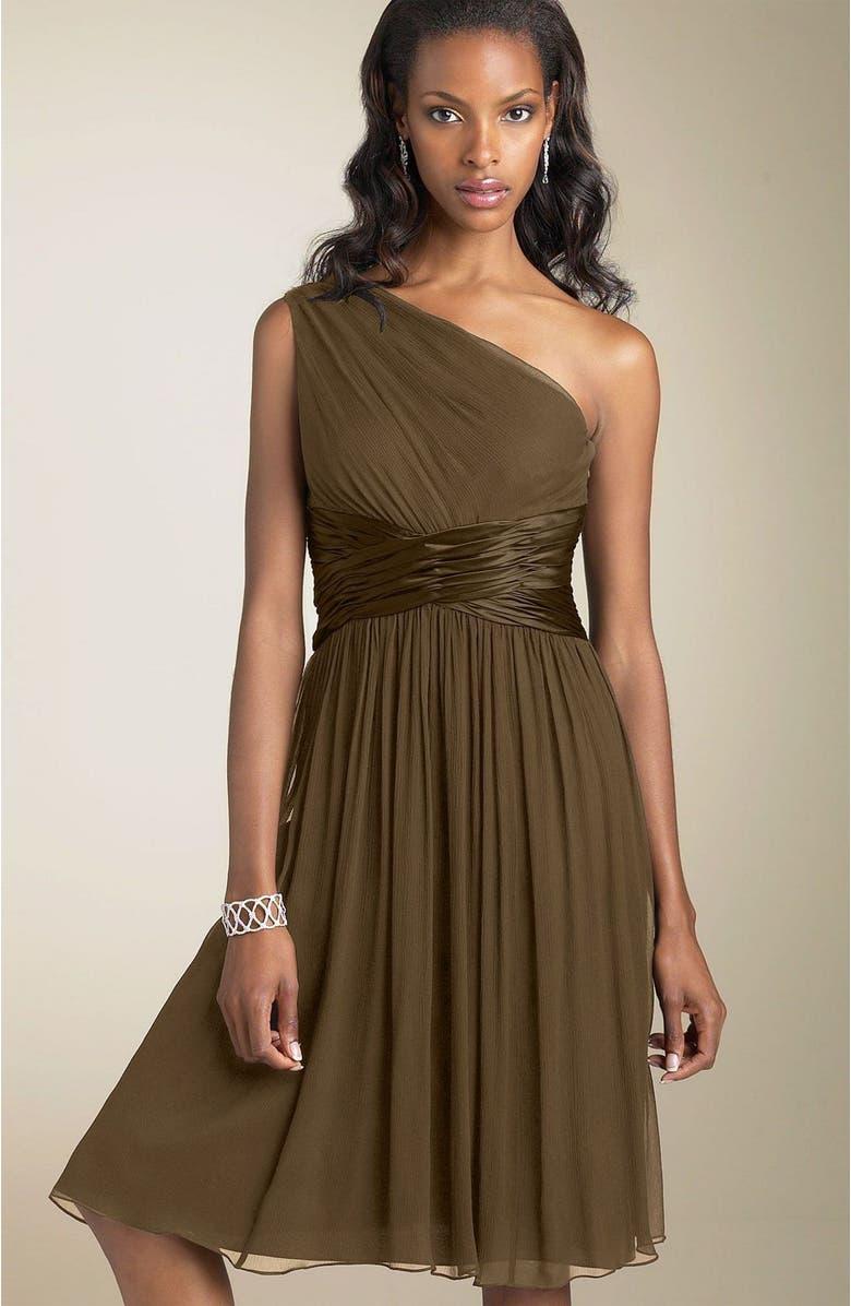 MAGGY LONDON One Shoulder Silk Dress, Main, color, 200