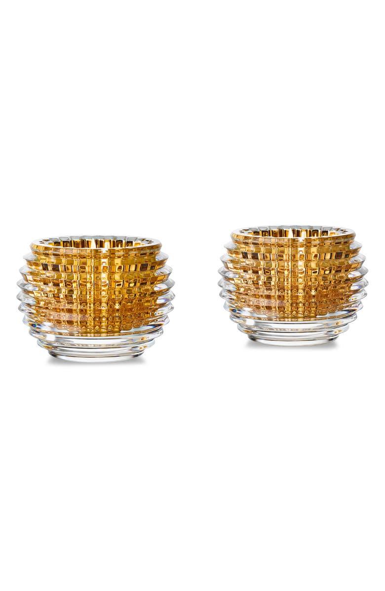BACCARAT Eye Set of 2 20K Gold & Lead Crystal Votives, Main, color, 710
