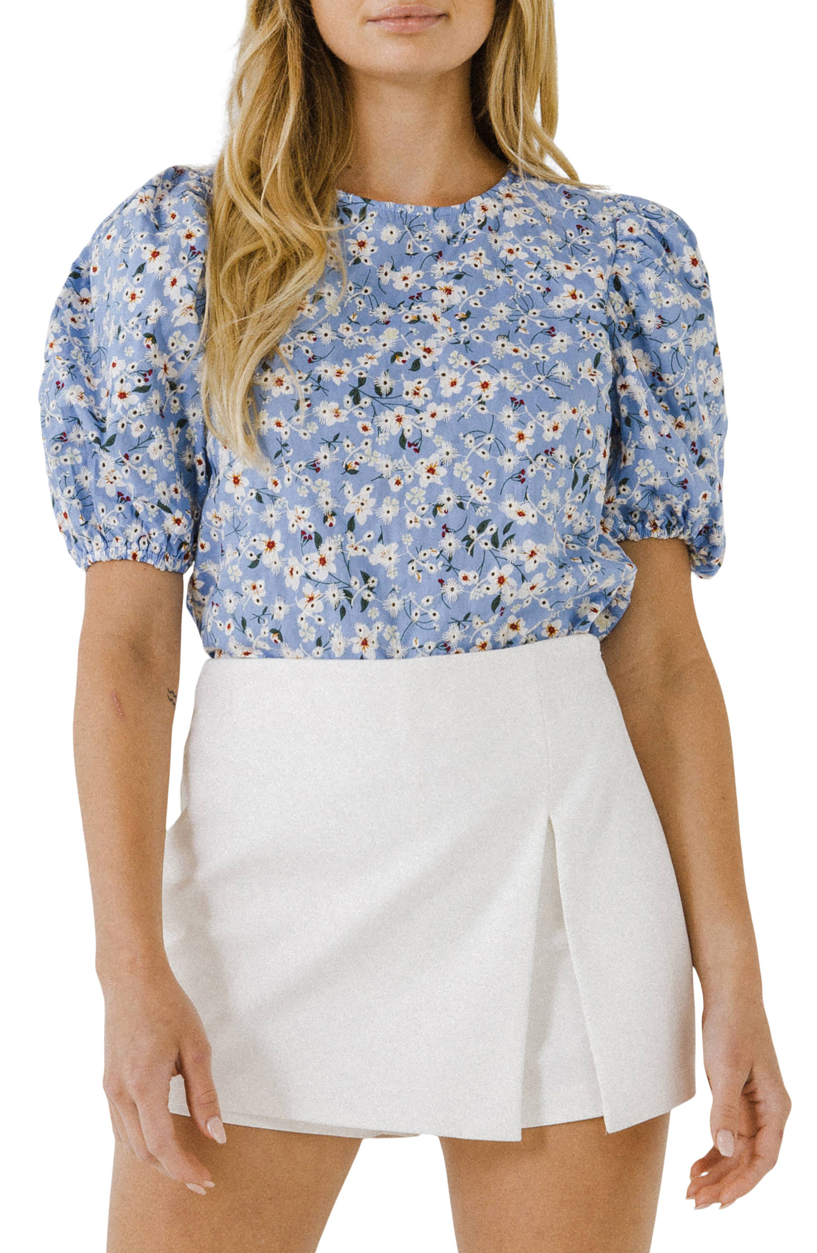 Floral Puff Sleeve Cotton Blouse