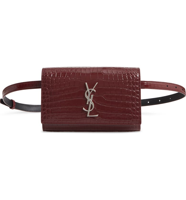 SAINT LAURENT Kate Croc-Embossed Leather Belt Bag, Main, color, ROUGE LEGION