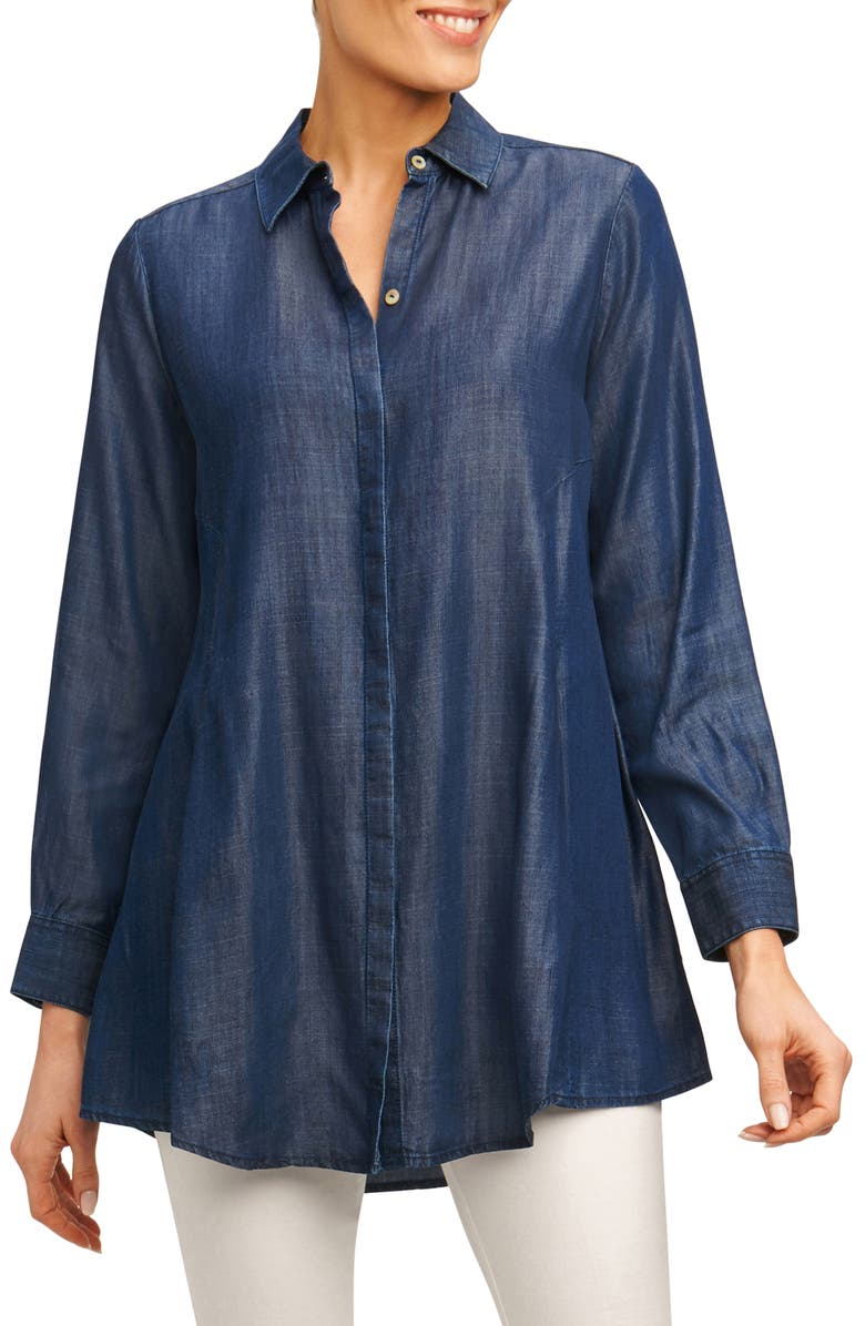 FOXCROFT Cici Tencel<sup>®</sup> Tunic Shirt, Main, color, NAVY