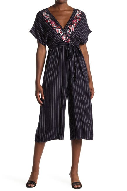 Image of Angie Floral Embroidered Striped Crop Jumpsuit