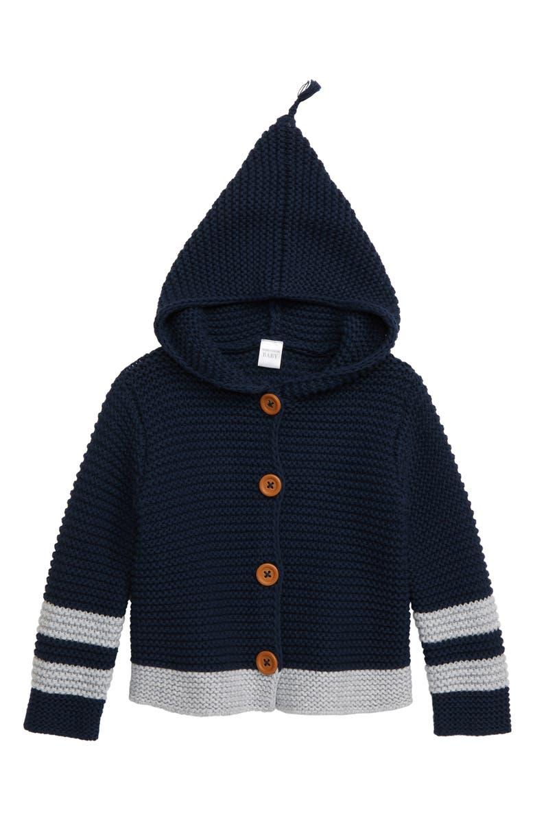 NORDSTROM BABY Varsity Organic Cotton Hooded Cardigan, Main, color, NAVY IRIS