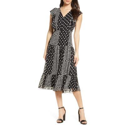 Sam Edelman Reverse Dot Midi Dress, Black