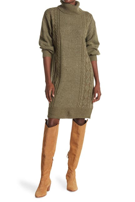 Image of STITCHDROP Balloon Sleeve Cable Knit Sweater Dress