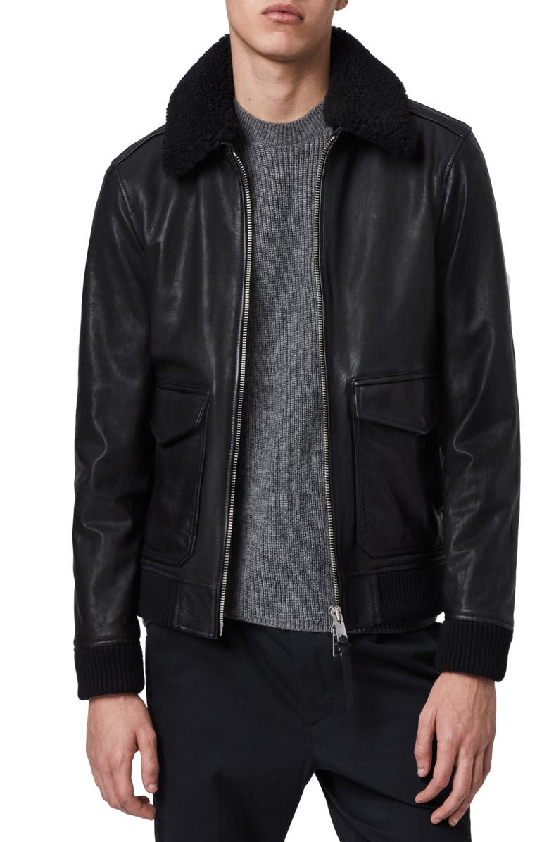 ALLSAINTS Phoenix Slim Fit Leather Aviator Jacket with Genuine Shearling Trim, Main, color, 001