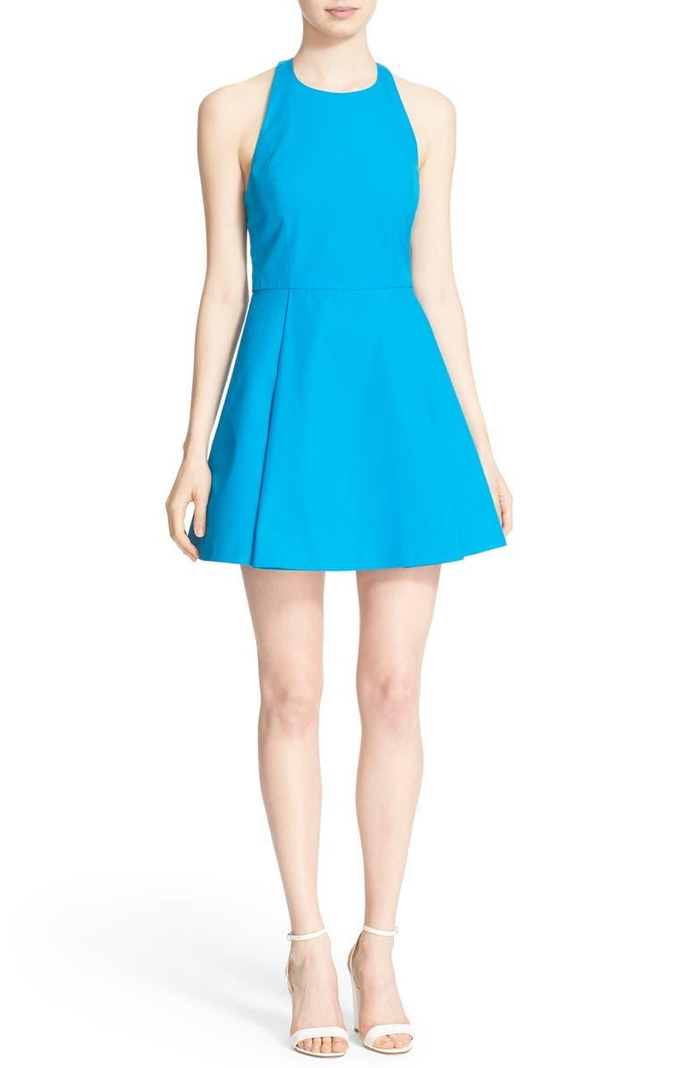 ALICE + OLIVIA 'Christie' Cotton Fit & Flare Dress, Main, color, 400