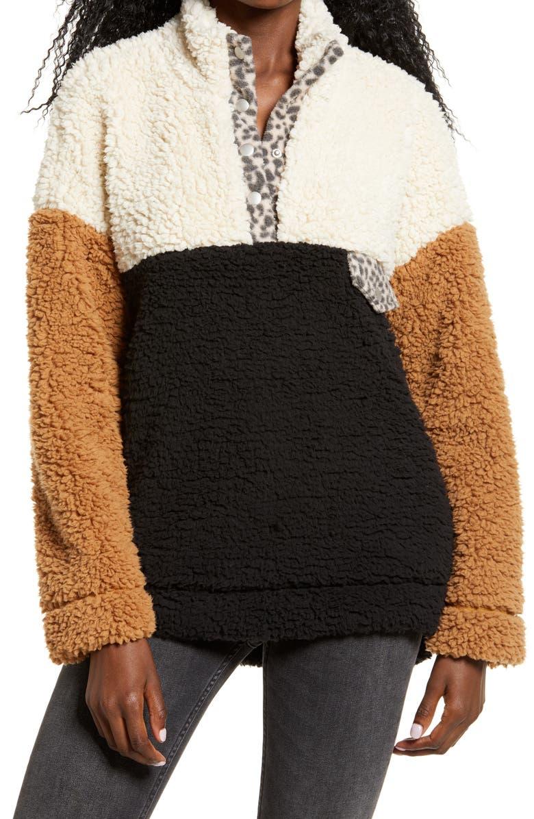 THREAD & SUPPLY Wubby Colorblock Fleece Pullover, Main, color, BLACK/ CREAM/ TAN
